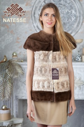 Mink fur vest gilet 2-colored