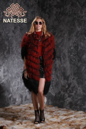 Collarless Tibet Lamb fur coat 1561