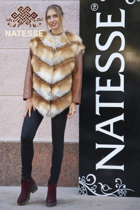 Real red fox fur jacket and vest Dixie
