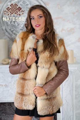 Red fox fur winter jacket and gilet collarless horizontally layered decks tiers