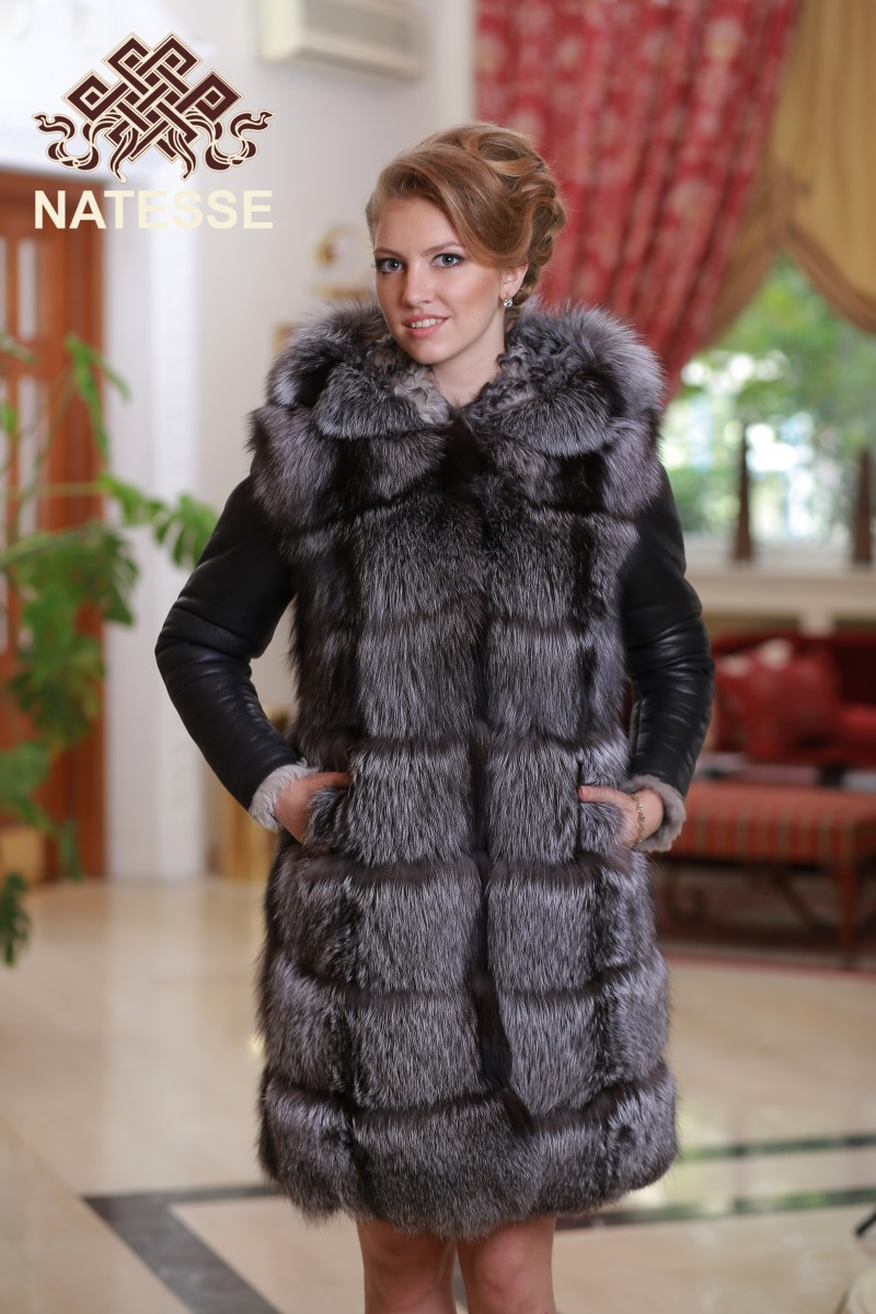 1edae97d3 Silver fox real fur coat convertible 4 in 1 with hood ...