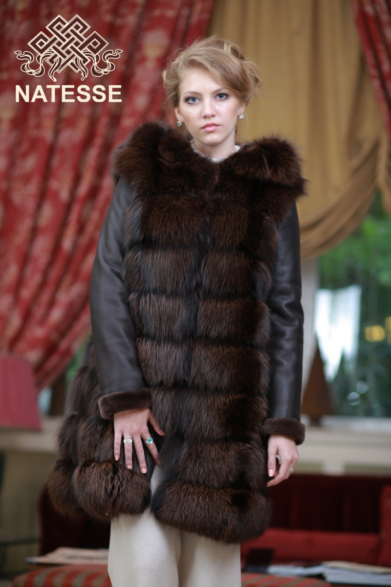 29c8cb09e20a Convertible silver fox fur coat 4 in 1 in coqniac color ...