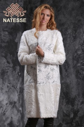 Long cashmere and lamb fur coat jacket full sleeves without collar