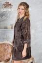 Пальто из каракульчи коричневой вышитое