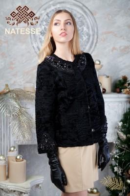 Пиджак жакет из черной каракульчи свакара c камнями