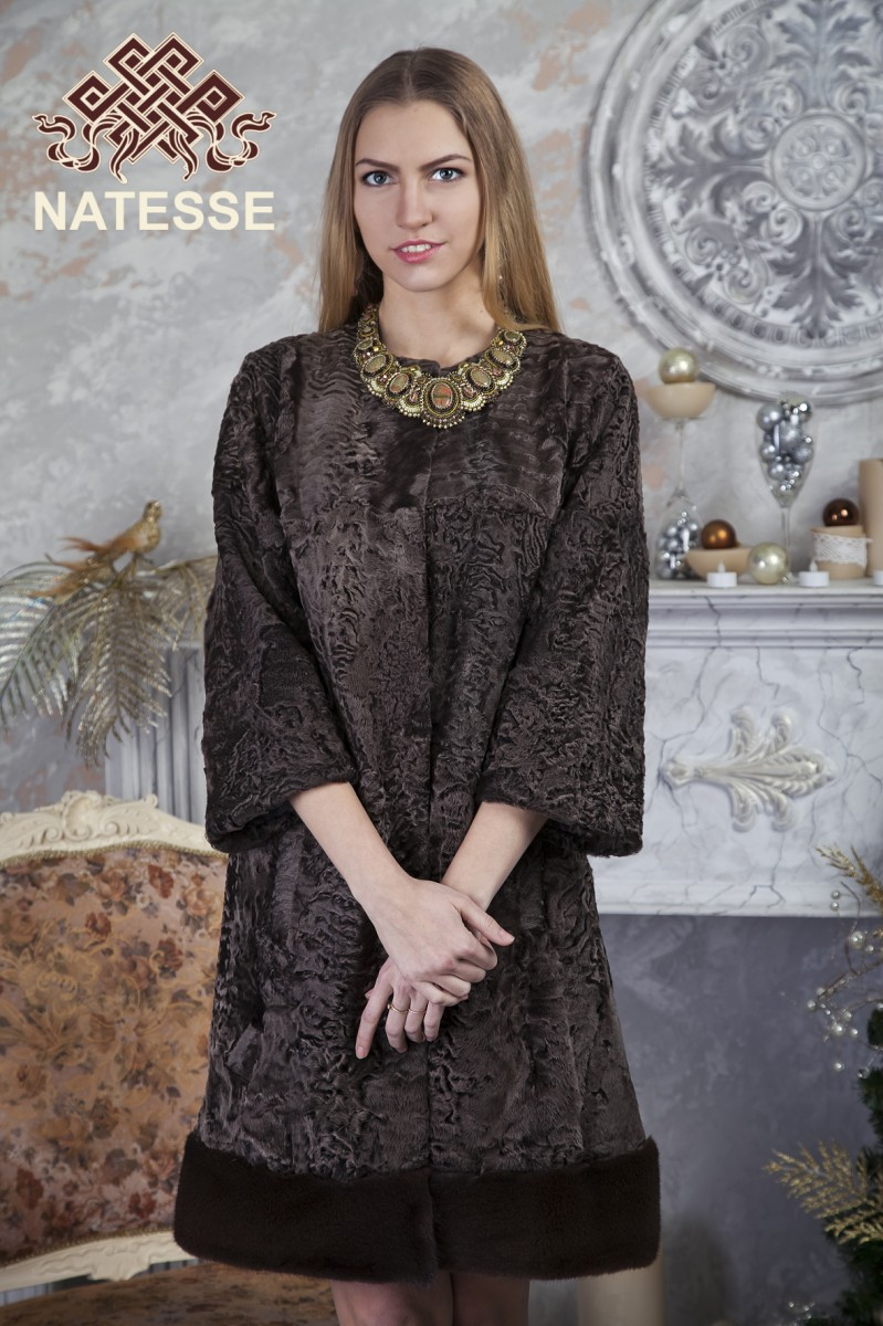 81e82220149 Ladies  knee-length fashionable brown swakara fur jacket with mink fur