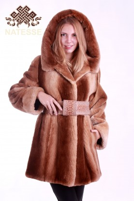Sheared beaver fur coat Saharah color