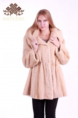 Hooded sheared-beaver fur coat Pearl
