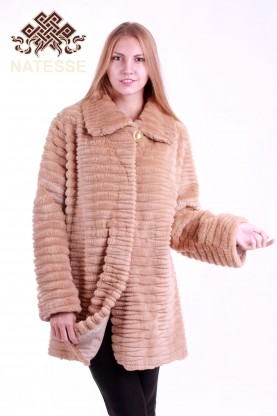 Ladies' sheared-beaver fur coat cocoa color
