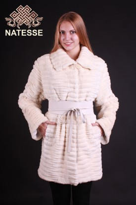 Sheared-beaver fur coat light pearl