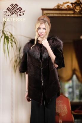 Sheared beaver silver fox combi fur jacket vest 01582