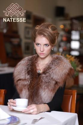 Silver fox fur collar discolored 1109