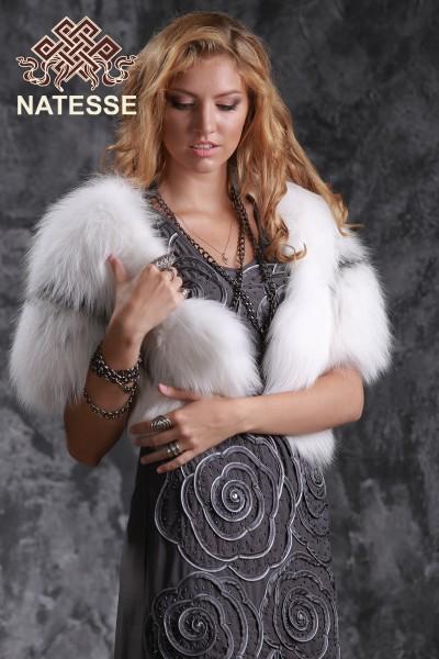 Белый меховой палантин накидка из меха лисы
