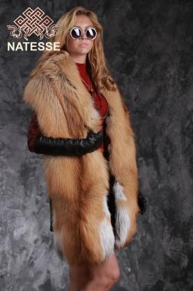 Палантин из финской рыжей лисы Голд