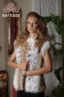 Long lynx fur vest gilet collarless mid thigh lengh short sleeves
