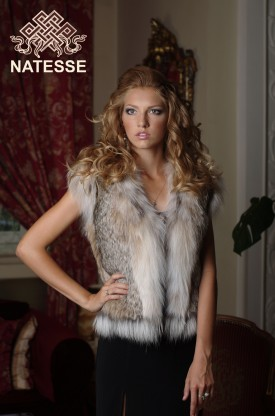 Canadian lynx fur vest gilet short sleeveless without collar