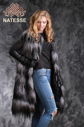 Gray yak fur vest gilet horizontal design