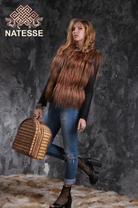 Red yak fur vest gilet