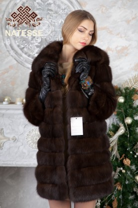 Barguzin sable fur coat with standing collar