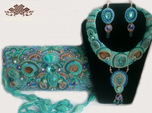 Turquoise-embroidered leather clutch necklace earrings